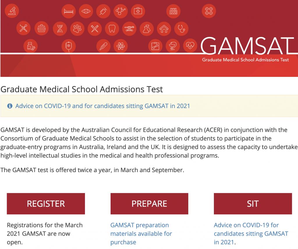 Registration for GAMSAT Testing Dates
